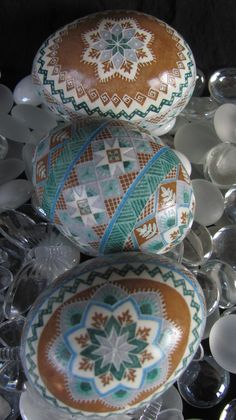 Duck Egg Pysanky by Katrina Lazarev  - reminds me of chocolate and mint