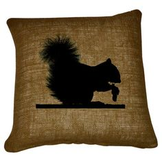 Burlap and cotton pillow with a squirrel silhouette motif.   Product: PillowConstruction Material: Burlap and co...