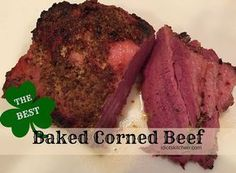 The Best Baked Corned Beef - tender, flavorful, and so easy to make. A quick mustard brown sugar topping adds great flavor and offsets the saltiness of the meat. Beef Brisket Recipes, Meat Recipes, Cooking Recipes, Baked Corn Beef Brisket Recipe, Top Recipes, Best Corned Beef Recipe, Homemade Corned Beef, Zoodle Recipes