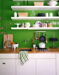Green Kitchen Walls acidic green wall with heavy crisp white accents add dimension to