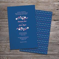 Flower Vertical Flat Wedding Invitation | Vistaprint