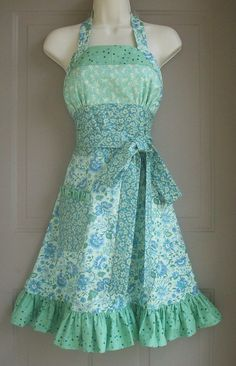 lovely fitted apron..looks like a dress