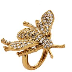 Kenneth Jay Lane Antique Gold Bee Ring With Crystal Stones ($64) ❤ liked on Polyvore featuring jewelry, rings, gold, antique gold jewellery, kenneth jay lane jewelry, crystal jewellery, honey bee jewelry and bumble bee jewelry