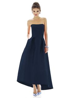 """Alfred Sung Style D581 Fabric: Dupioni Full length strapless dupioni dress w/ matching belt at natural waist and subtle hi-low hem. Pleated skirt has pockets at side seams. Front skirt is 22"""" from natural waist to hem."""