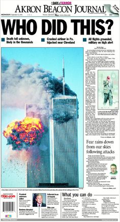 newspaper headlines from 9 11 Remembering September 11th, 11. September, Newspaper Cover, Newspaper Headlines, World Trade Center Attack, We Are Coming, The Devil's Advocate, We Will Never Forget, Historical Quotes