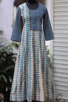 flap yoke dress - silvery rubble & checkers Dress Neck Designs, Designs For Dresses, Blouse Designs, Simple Kurta Designs, Kurta Designs Women, Indian Designer Outfits, Designer Dresses, Kurta Neck Design, Batik Fashion
