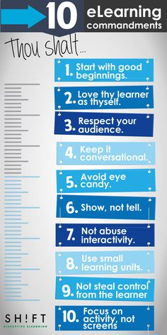 The Ten eLearning Commandments: 10 tips to keep in mind to develop effective and engaging elearning experiences.