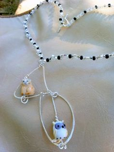 Owl and The Cat Necklace Owl Jewelry Owls by Originalsbydenise, $55.00