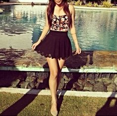 -black floral bustier, black mini skirt spring/summer outfit- 42 Flawless Casual Style Outfits To Update You Wardrobe Today – -black floral bustier, black mini skirt spring/summer outfit- Source Cute Fashion, Look Fashion, Teen Fashion, Fashion Outfits, Catwalk Fashion, Fashion Clothes, Fashion Trends, Fashion 2015, Dress Clothes