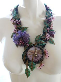 Hey, I found this really awesome Etsy listing at https://www.etsy.com/listing/178595013/dragonfly-ooak-bead-woven-neckpiece