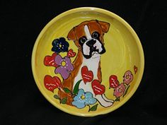 Dog Bowl 10 Boxer Dog Bowl for Food or Water Personalized at no Charge Signed by Artist Debby Carman ** Click image to review more details.(This is an Amazon affiliate link and I receive a commission for the sales)