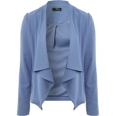Jane Norman Soft waterfall jacket (€26) ❤ liked on Polyvore featuring outerwear, jackets, l blue, waterfall jacket, long sleeve jacket, jane norman and blue jackets