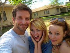 "When it began. First ""Aloha"" rehearsals. Bradley Cooper, Emma Stone and Rachel McAdams!  Honolulu, Hawaii."