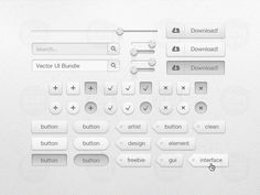 Vector UI Bundle  This one includes custom tags, download buttons, on/off switches, a slider, search buttons and boxes, and much more! Everything is 100% vector and can be scaled to any size if needed. It also includes a Photoshop PSD like always.