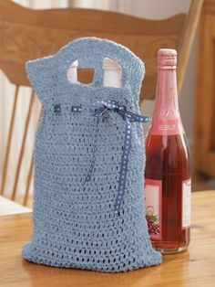 Free Knitting Pattern Gift Bag : Wine Tote FREE Pattern Off the Hook Crochet. So cute and ...