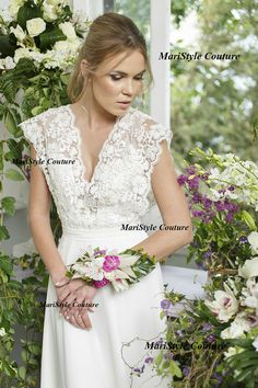 Bohemian Wedding gown from Chiffon, French lace , Boho style dress, Romantic and Dreamy Wedding Dress - Peneope