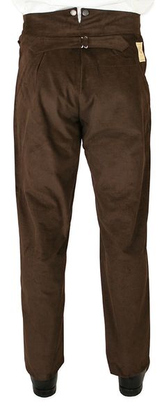 Victorian Mens Brown Cotton Solid,Stripe Work Pants   Dickens   Downton Abbey   Edwardian    Johnston Corduroy Trousers - Brown