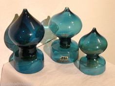 3 Bertil Vallien Kosta Boda Blue Art Glass Salt Pepper Spice Jars