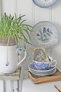Idea: Glue lace around the dishes and cups to give that Shabby Chic look.