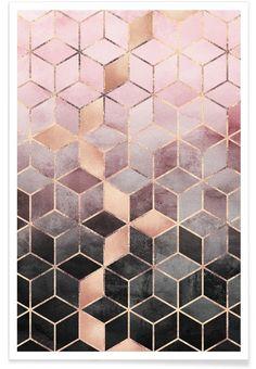 Pink Grey Gradient Cubes als Premium Poster | JUNIQE