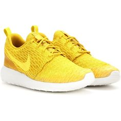 Nike Nike Roshe One Flyknit Sneakers ($145) ❤ liked on Polyvore featuring shoes, sneakers, yellow, yellow sneakers, nike, yellow shoes, nike shoes and nike trainers