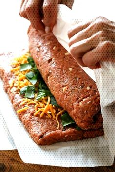 Cheese Stuffed Turkey Meatloaf Recipe - - The best tasting, moist turkey meatloaf stuffed with cheddar cheese, spinach and rolled, jelly roll style topped with a ketchup based glaze. Moist Turkey Meatloaf, Ground Turkey Meatloaf, Turkey Loaf, Stuffed Meatloaf Recipes, Cheese Turkey, Cheese Stuffed Meatloaf, Stuffed Turkey Burgers, Turkey Meatloaf Muffins, Turkey Mince