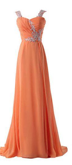 A-line Long Shoulder straps Sequins Prom Dress