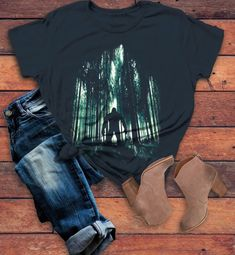 84a7b1cbc Women's Cool Bigfoot T-Shirt Forest Sasquatch Tee Grunge Hide Seek Hipster