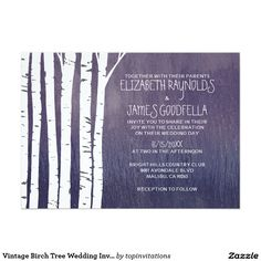 Vintage Birch Tree Wedding Invitations