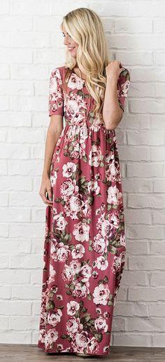 Miranda Maxi Dress (Mauve Floral)