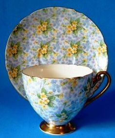 """Unloved Antiques: Bone China Tea Cup & Saucer Collection - Shelly Chintz """"Prime Rose."""""""