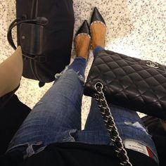 It's 5.40 am already on a flight #denim #chanel #valentino by tashsefton