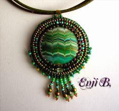 Collier broderie de perles couleurs plumes de paon ...