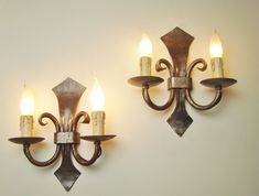 Pair vintage wrought iron sconces wall farmhouse style wall lights Candle Sconces, Wall Sconces, Wrought Iron Chandeliers, Light Pull, French Country Style, Iron Wall, French Vintage, Farmhouse Style, Wall Lights