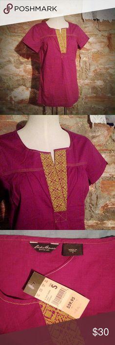 Eddie Bauer Tunic Vibrant plum cotton tunic with chartreuse embroidered V-neck collar.  Pretty! Eddie Bauer Tops Tunics