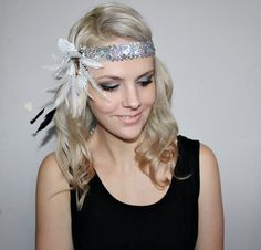 1920s white and silver feather flapper headband races