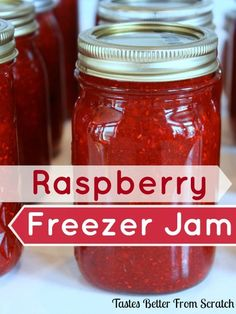 Tastes Better From Scratch website shares how to make a easy tasty raspberry freezer jam. Capture the essence of raspberries in a sweet, spreadable jam Freezer Jam Recipes, Freezer Cooking, Canning Recipes, Jelly Recipes, Cooking Tips, Raspberry Freezer Jam, Homemade Raspberry Jam, Strawberry Jam, Frozen Raspberry Jam Recipe