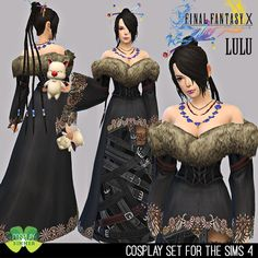 Final Fantasy X Lulu Cosplay Set for The Sims 4 by Cosplay Simmer Source by ideas fantasy Halloween Cosplay, Halloween 2019, Lulu Final Fantasy, 4 Kingdoms, Sims4 Clothes, The Sims 4 Download, Sims 4 Cas, Renaissance Costume, Sims 4 Custom Content