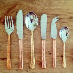 Beaten Copper Cutlery x 2 Knives Forks to remind us to take care of what we eat during our busy times Copper Cutlery, Kitchen Living, Pantone, Beats, Pottery, Tableware, Forks, Knives, Interiors