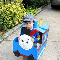 21 Halloween Costumes Made by Real Moms: Thomas the Tank Engine (via Parents.com)    Looks like I have some work to do because this costume would be PERFECT for my Eli!!!!