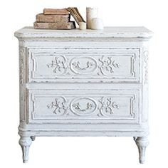 A stunning piece for the master suite or any romantic, European style bedroom, the White French Fleur Bronte nightstand perches upon delicately tapered feet. Shop Vintage French nightstands now. Antique White Furniture, White Painted Furniture, European Furniture, Distressed Furniture, French Furniture, Unique Furniture, Repurposed Furniture, Shabby Chic Furniture, Cheap Furniture