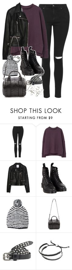 """Outfit with a purple jumper"" by ferned ❤ liked on Polyvore featuring Topshop, MANGO, Zara, Dr. Martens, Forever 21, Alexander Wang, Maison Scotch and Links of London"