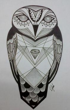 Coruja, Owl, Tattoo