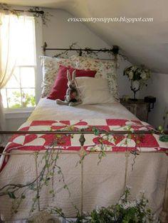 Adorable, cheery, attic bedroom.