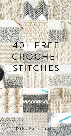 Free Crochet Stitches from Daisy Farm Crafts - knitting is as easy as 1 . - Free Crochet Stitches from Daisy Farm Crafts – knitting is as easy as 3 Knitting boils - Easy Crochet Stitches, Crochet Simple, Stitch Crochet, Crochet Daisy, Knitting Stitches, Free Knitting, Free Crochet, Knitting Patterns, Crochet Flowers