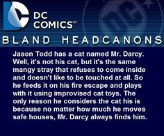 """ Jason Todd has a cat named Mr. Darcy. Well, it's not his cat, but it's the same mangy stray that refuses to come inside and doesn't like to be touched at all. So he feeds it on his fire escape and..."