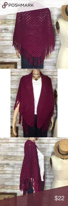 """🍷 Handmade raspberry wine crocheted fringed shawl Handmade raspberry wine crocheted triangle shawl with fringe.  Super warm and cozy.  Measures 70"""" at the longest point and 31"""" to diagonal point.  Good condition. Handmade Accessories Scarves & Wraps"""