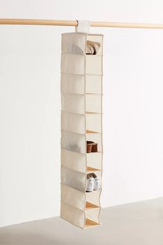 Hanging Canvas And Bamboo 10-Tier Closet Organizer | Urban Outfitters