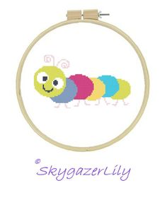 Cross Stitch Pattern Colorful Caterpillar Easy by SkygazerLily, $3.00