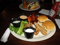 Wings, Sliders, Egg Roles with dips. Starters from Kings Street Grill, At Freshfields, Johns Island, Charleston.
